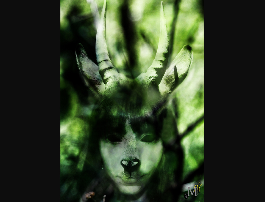 Photomontage métamorphe antilope halloween