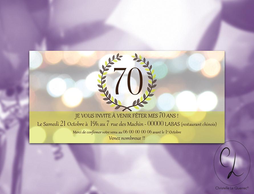 Carte d'invitation 70 ans - Création print CL