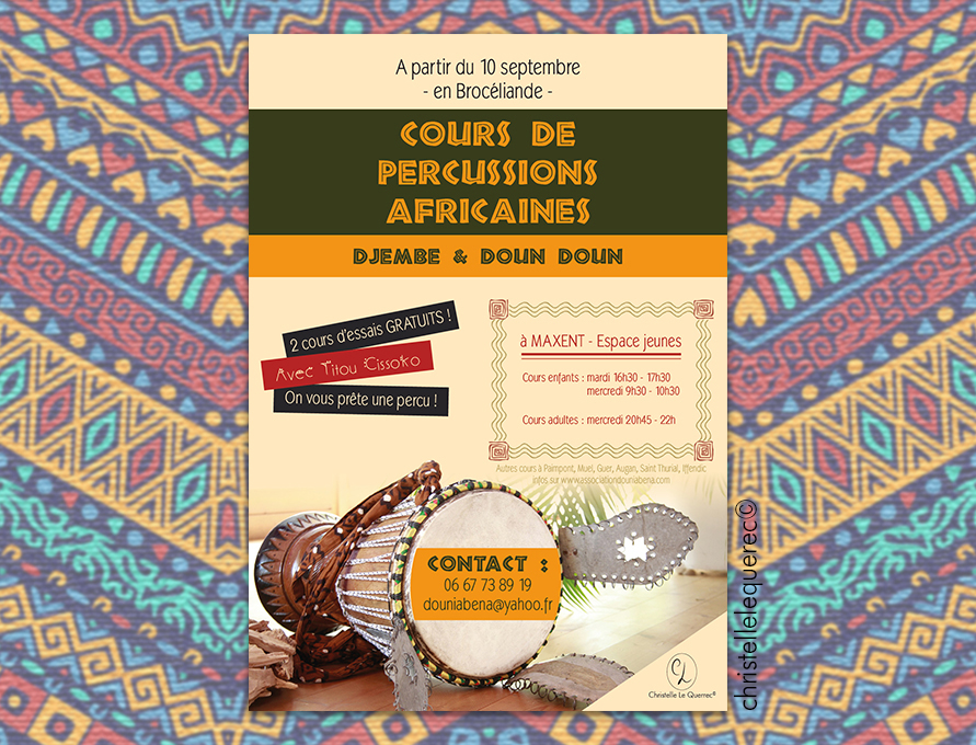 Flyers Percussions Africaine - Christelle Le Querrec