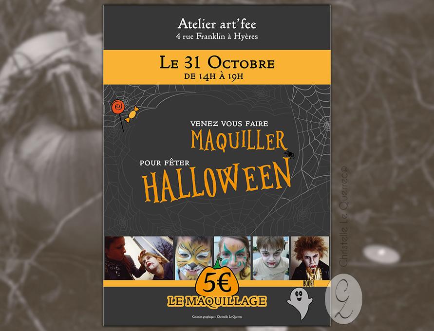 Affiche maquillage halloween - Christelle Le Querrec