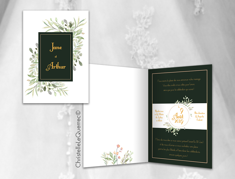 Faire-part mariage - Carte d'invitation - Christelle Le Querrec
